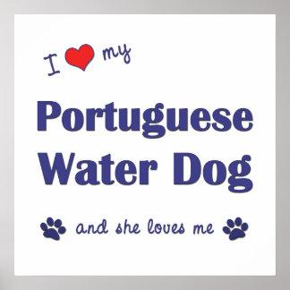 I Love My Portuguese Water Dog (Female Dog) Poster