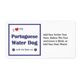 I Love My Portuguese Water Dog (Female Dog) Shipping Label