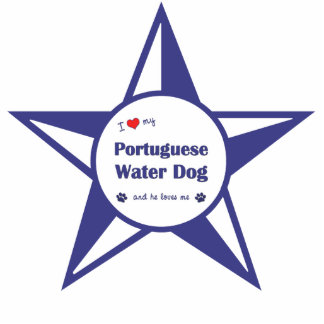 I Love My Portuguese Water Dog (Male Dog) Photo Sculpture Ornament