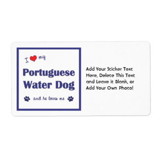 I Love My Portuguese Water Dog (Male Dog) Shipping Label