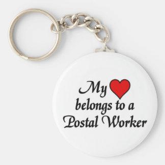 I love my Postal Worker Basic Round Button Keychain