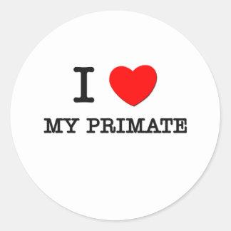 I Love My Primate Round Stickers