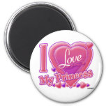 I Love My Princess pink/purple - heart 2 Inch Round Magnet