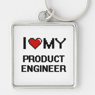 I love my Product Engineer Silver-Colored Square Keychain