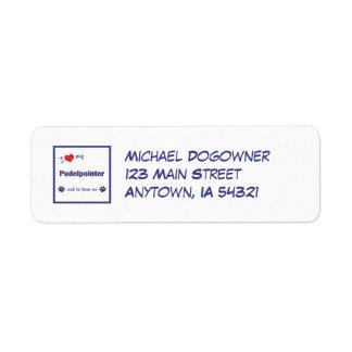 I Love My Pudelpointer (Male Dog) Custom Return Address Label