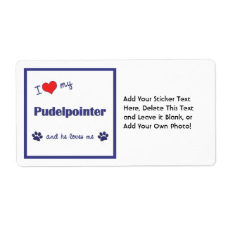 I Love My Pudelpointer (Male Dog) Shipping Label