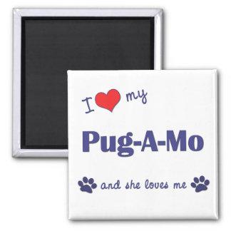 I Love My Pug-A-Mo (Female Dog) Refrigerator Magnets