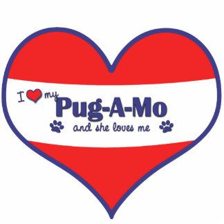 I Love My Pug-A-Mo (Female Dog) Photo Sculptures