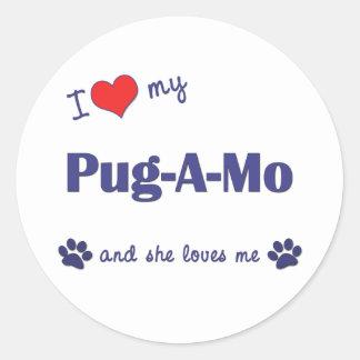 I Love My Pug-A-Mo (Female Dog) Sticker
