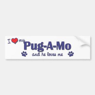 I Love My Pug-A-Mo (Male Dog) Bumper Sticker