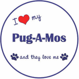I Love My Pug-A-Mos (Multiple Dogs) Photo Cut Outs