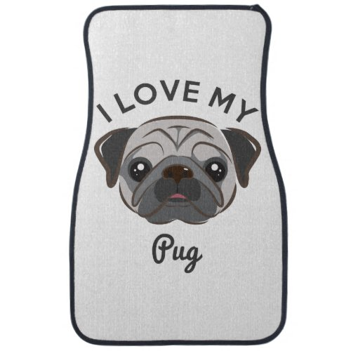 I Love My Pug Car Mats