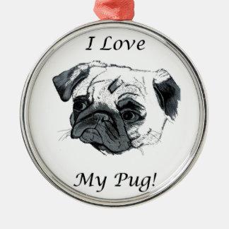 I Love My Pug Christmas Ornament