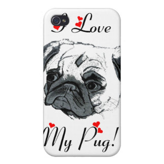 I Love My Pug! Cute Covers For iPhone 4