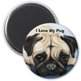""" I Love My Pug"" Dog Art Magnet"