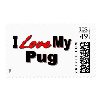 I Love My Pug Dog Gifts and Apparel Postage Stamps