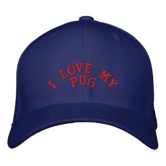 I LOVE MY PUG EMBROIDERED BASEBALL CAP