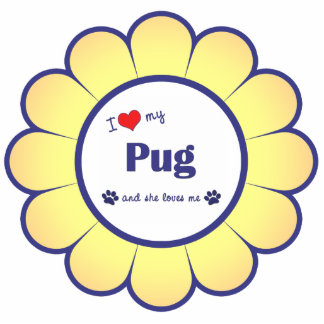 I Love My Pug (Female Dog) Photo Sculpture Ornament