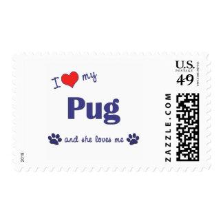 I Love My Pug (Female Dog) Postage Stamp