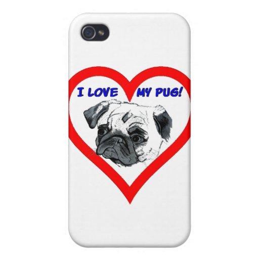 I Love My Pug! Heart Design iPhone 4/4S Covers