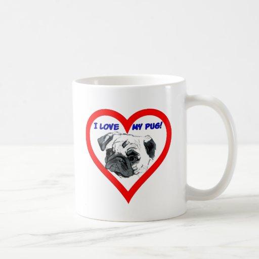 I Love My Pug! Heart Design Mug
