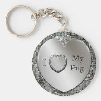 I Love My Pug Heart Keychain