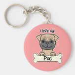 I Love My Pug Key Chains