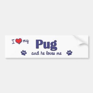 I Love My Pug (Male Dog) Bumper Sticker