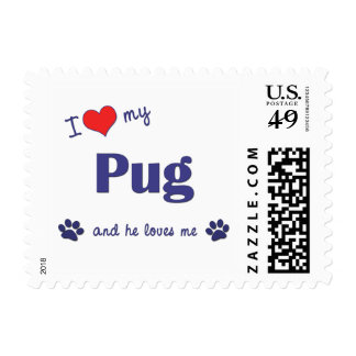 I Love My Pug (Male Dog) Postage Stamps