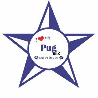 I Love My Pug Mix (Female Dog) Photo Sculpture Ornament