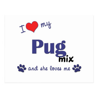 I Love My Pug Mix (Female Dog) Postcard