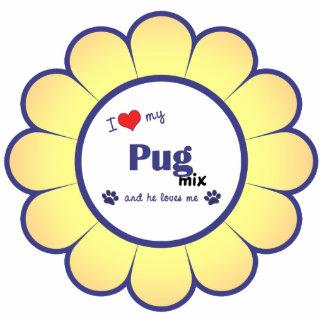 I Love My Pug Mix (Male Dog) Photo Sculpture Ornament