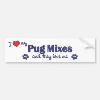 I Love My Pug Mixes (Multiple Dogs) Bumper Sticker