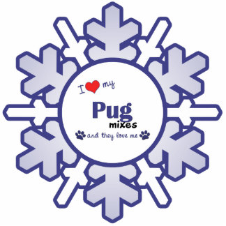 I Love My Pug Mixes (Multiple Dogs) Photo Sculpture Ornament