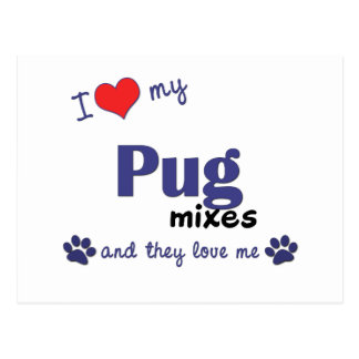 I Love My Pug Mixes (Multiple Dogs) Postcard