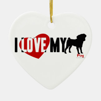 I Love My Pug Double-Sided Heart Ceramic Christmas Ornament