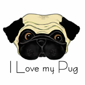 I Love my Pug Standing Photo Sculpture