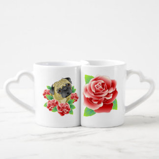 I Love My Pug Roses Adorable Nesting Mugs