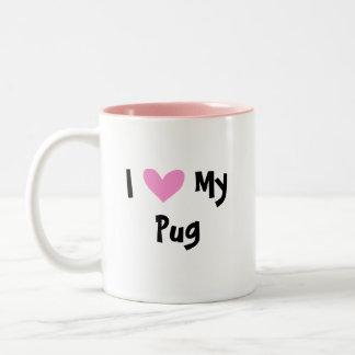 I Love My Pug Two-Tone Coffee Mug