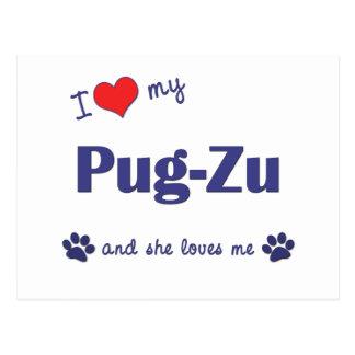 I Love My Pug-Zu (Female Dog) Postcard