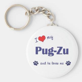 I Love My Pug-Zu (Male Dog) Keychain