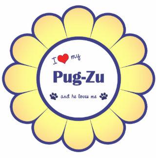 I Love My Pug-Zu (Male Dog) Photo Sculpture Ornament