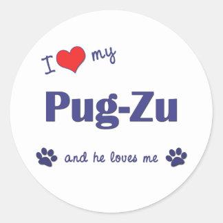 I Love My Pug-Zu (Male Dog) Round Stickers