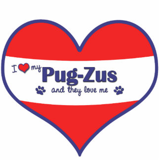 I Love My Pug-Zus (Multiple Dogs) Photo Sculpture Ornament