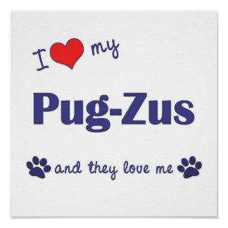 I Love My Pug-Zus (Multiple Dogs) Print