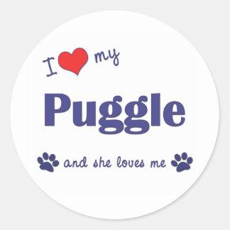 I Love My Puggle (Female Dog) Classic Round Sticker