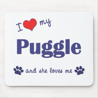 I Love My Puggle (Female Dog) Mouse Pad
