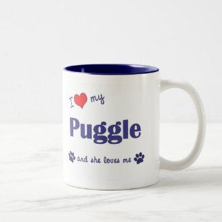 I Love My Puggle (Female Dog) Two-Tone Coffee Mug