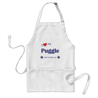 I Love My Puggle (Male Dog) Aprons
