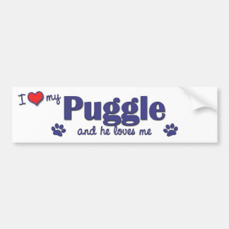 I Love My Puggle (Male Dog) Car Bumper Sticker